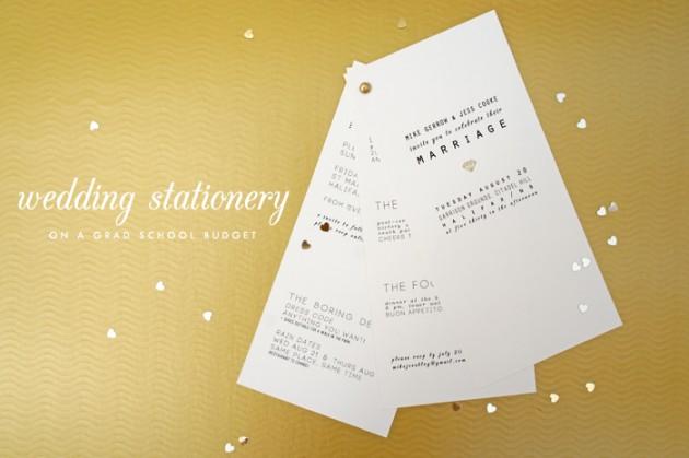 Wedding Blog My grad school budget wedding stationery