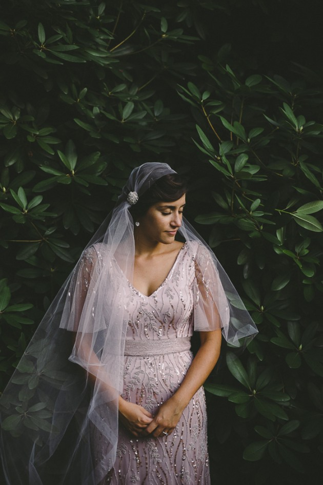 pink wedding dress juliet cap