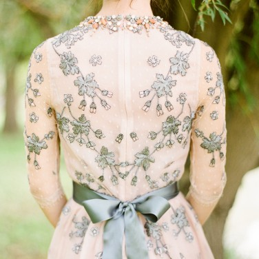 Melanie's Grey and Blush Wedding Gown