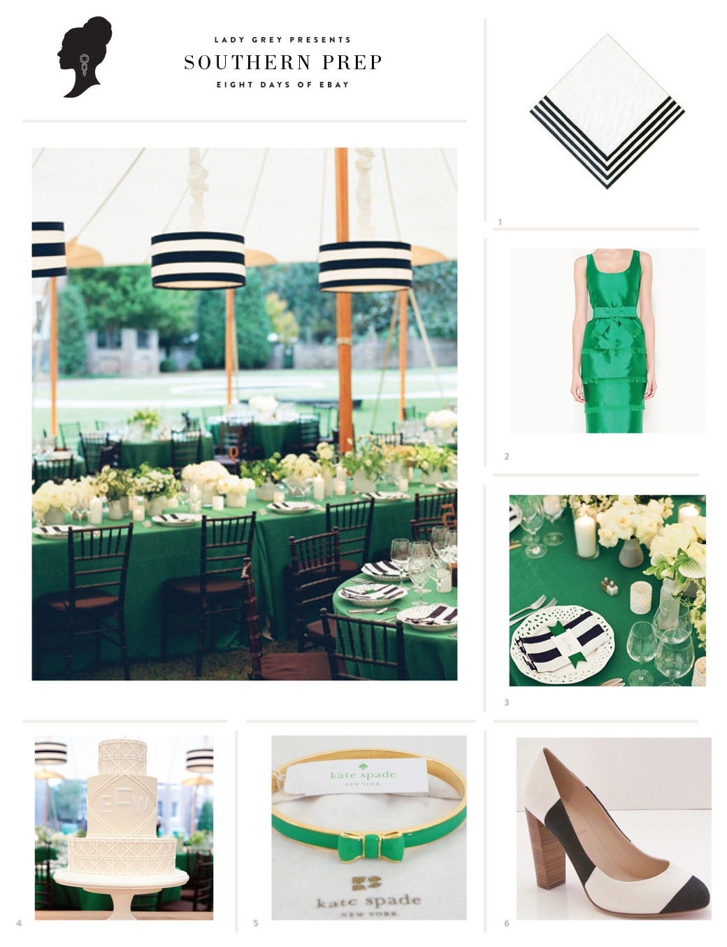 Wedding Blog Preppy Green + Stripes