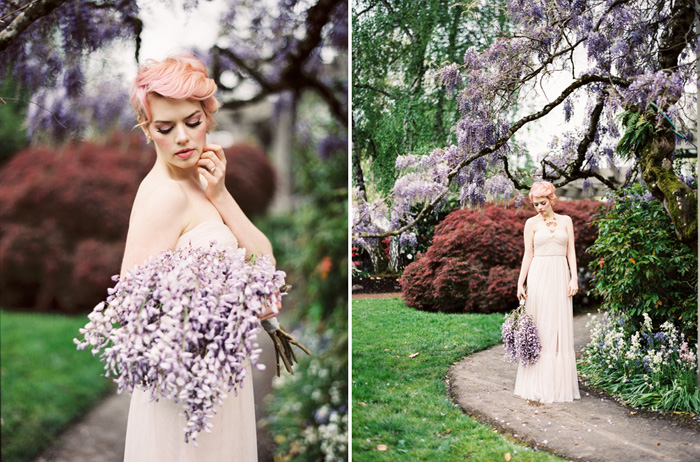 pink-hair-bride-blush-bhldn-dress-bush-gardens-conservatory-5