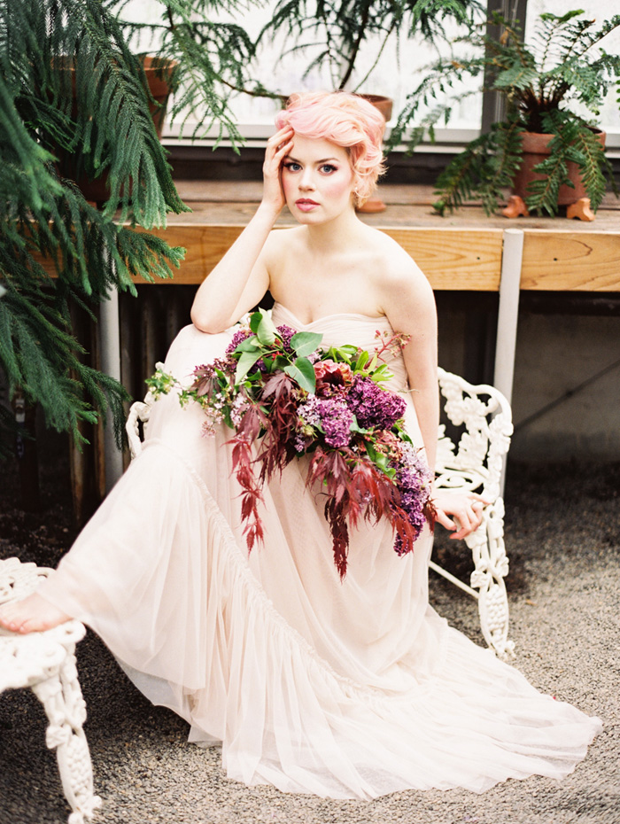 pink-hair-bride-blush-bhldn-dress-bush-gardens-conservatory-7