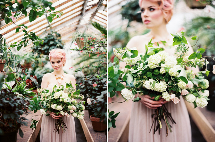 pink-hair-bride-blush-bhldn-dress-bush-gardens-conservatory-8