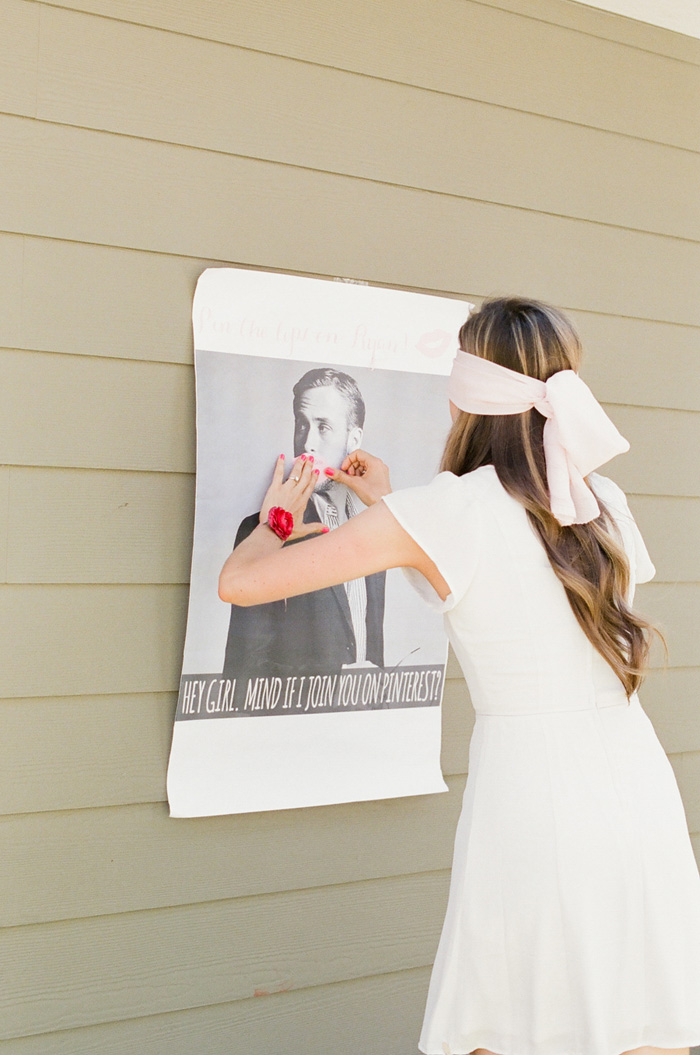bride playing pin the kiss on her crush