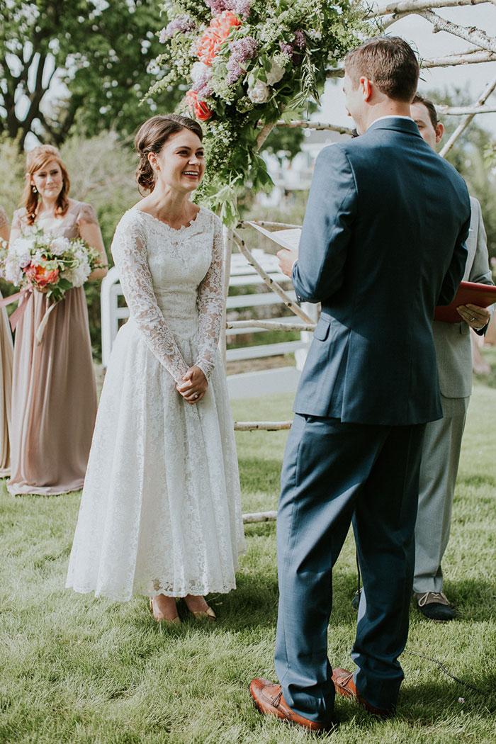 New Hampshire Backyard Vintage Colorful Wedding Inspiration35