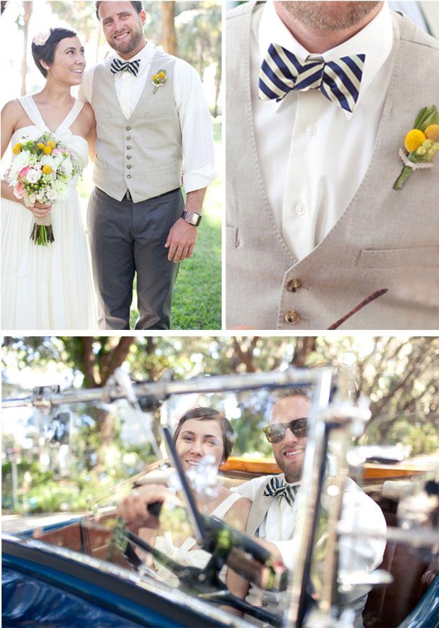 Black And White Striped Bow Tie Vintage Wedding Clic Getaway Car