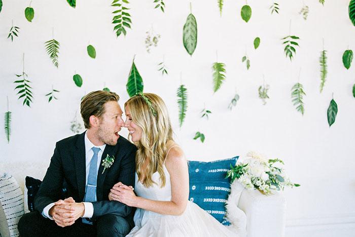 Boho Modern Leaf Wedding Pittsburgh Black And White